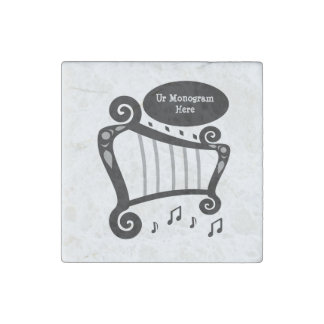 Black and White Harp Monogram Stone Magnet
