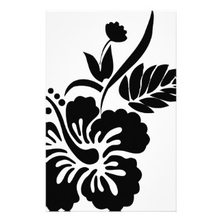 Black and white Hawaiian flowers Custom Stationery