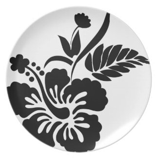 Black and white Hawaiian flowers Dinner Plates