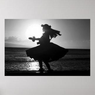 Black and White Hawaiian Hula Dancer Poster