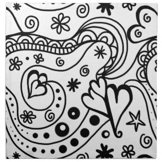 Black and White Heart Abstract Napkin