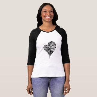 Black and white Heart Drawing | I Love Patterns! T-Shirt