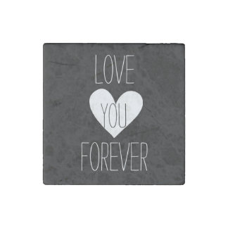 Black and White Heart Forever Stone Magnet