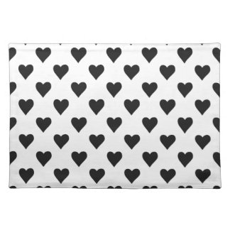 Black And White Heart Pattern Placemat