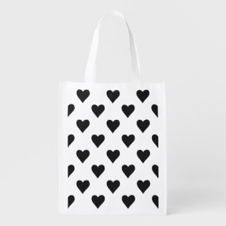 Black And White Heart Pattern Reusable Grocery Bag