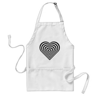Black and White Heart Pattern Standard Apron