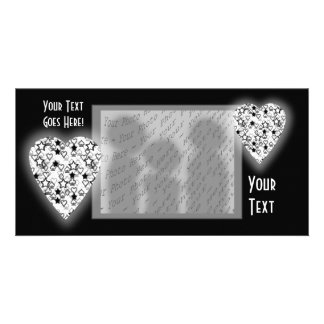 Black and White Heart. Patterned Heart Design. Customized Photo Card