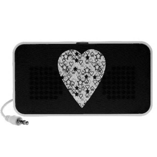 Black and White Heart. Patterned Heart Design. Mini Speakers