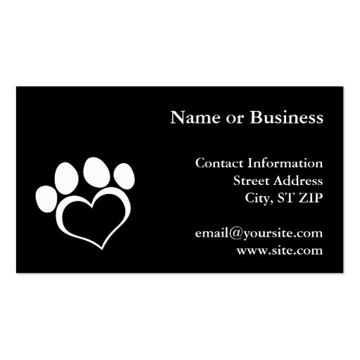 Black and White Heart Paw Business Card Template