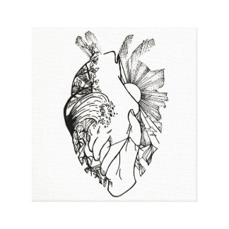 Black and White Heart-Shaped Ink Art Canvas Print