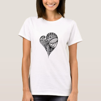 Black and White Heart Sketch | Heart Pattern | T-Shirt