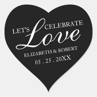 Black and White Heart Sticker | Wedding Invitation
