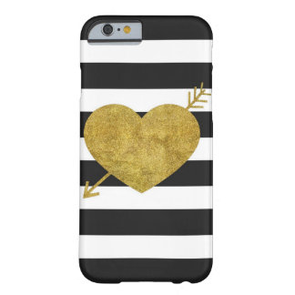 Black and White Heart with Arrow Barely There iPhone 6 Case