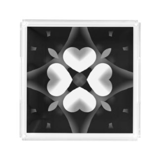 Black and White Hearts and Diamond Acrylic Tray