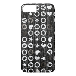 Black and white Hearts and stars iPhone 7 Case