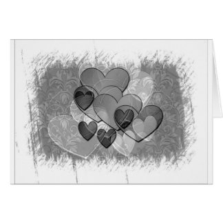 Black and White Hearts Card