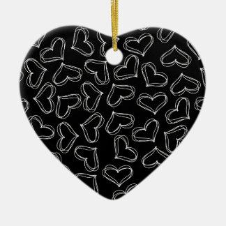 Black and White Hearts Ceramic Heart Decoration