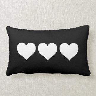 Black and White Hearts Lumbar Cushion