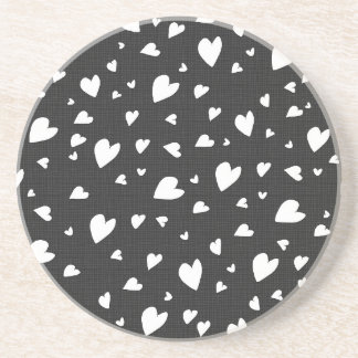 Black and white hearts pattern sandstone coaster