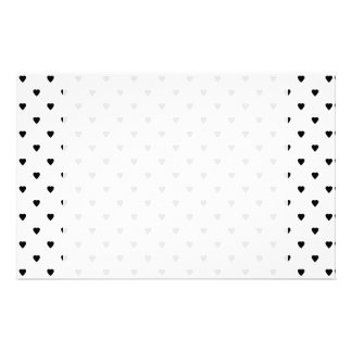 Black and White Hearts Pattern. Customized Stationery