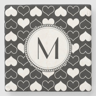 Black and White Hearts Pattern Stone Beverage Coaster