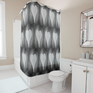 Black and white hearts  photograph shower curtain