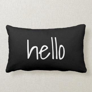 Black and White Hello Goodbye Reversible Lumbar Cushion
