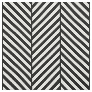Black and White Herringbone Large Scale Fabric