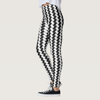 Black and White Herringbone Leggings