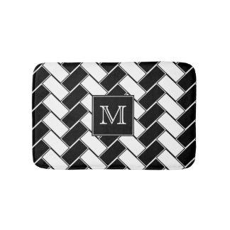 Black and White Herringbone Monogrammed Bath Mat