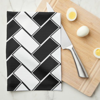 Black and White Herringbone Tea Towel