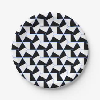 Black and White Hexagon 7 Inch Paper Plate