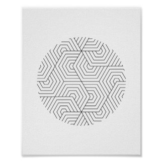 Black and White Hexagon Circle Geometric Wall Art