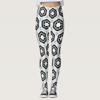 Black and White Hexagon w/Black Hearts Leggings