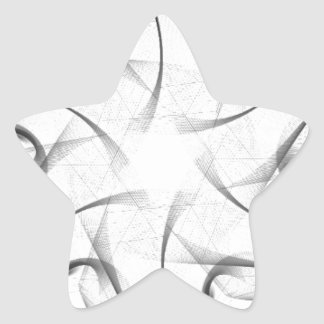 Black and White Hexagonal Fractal Star Sticker