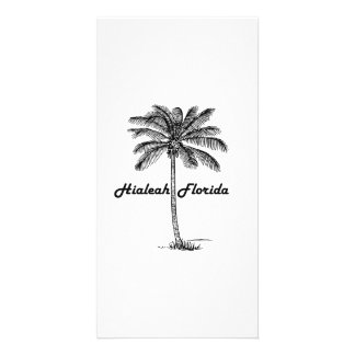 Black and White Hialeah & Palm design Custom Photo Card