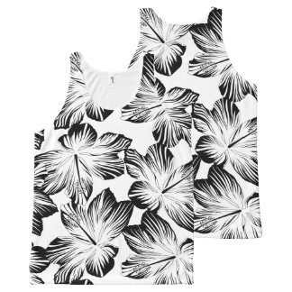 Black and white hibiscus All-Over print singlet