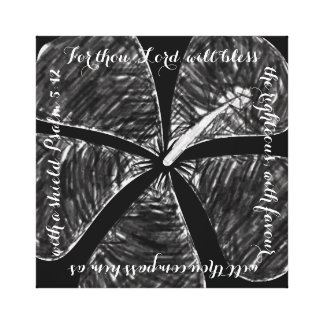Black and White Hibiscus Canvas Bible Verse Canvas Print