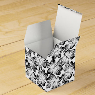 Black and white hibiscus favour box