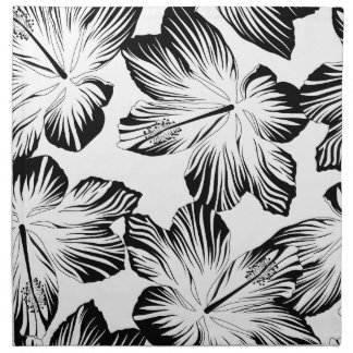 Black and white hibiscus napkin