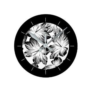 Black and white hibiscus round clock