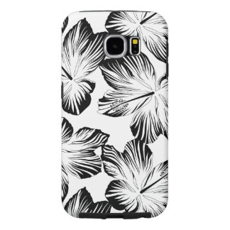 Black and white hibiscus samsung galaxy s6 cases