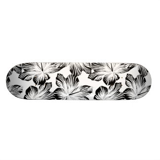 Black and white hibiscus skateboard deck