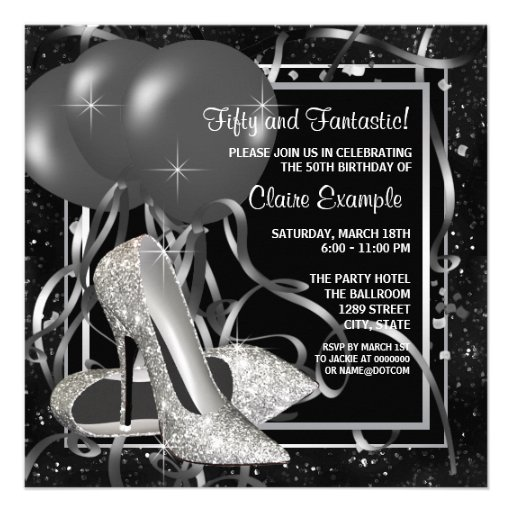 Black and White High Heels Womans Birthday Party Custom Invitations
