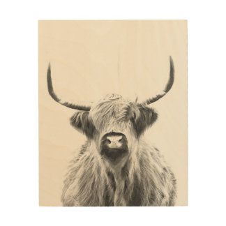 Black and White Highland Cow Wood Wall Art