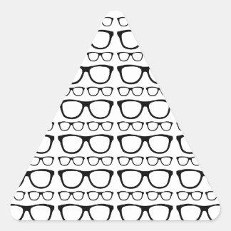 Black and White Hipster Retro Glasses Pattern Triangle Sticker