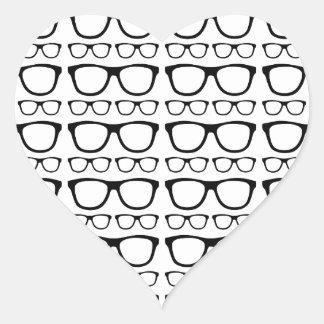 Black and White Hipster Retro Glasses Pattern Heart Sticker