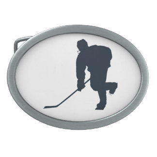 BLACK AND WHITE HOCKEY PLAYER BELT BUCKLE