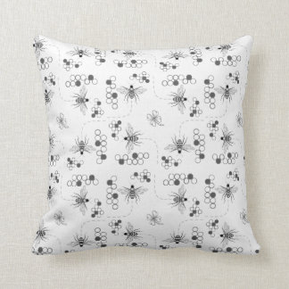 Black and White Honey Bees and Clover Pillow