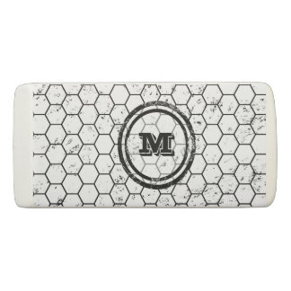 Black and white Honeycomb Monogram Geometric Eraser